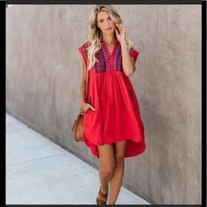 Fate embroidered dress from Vici Med red boho NWT